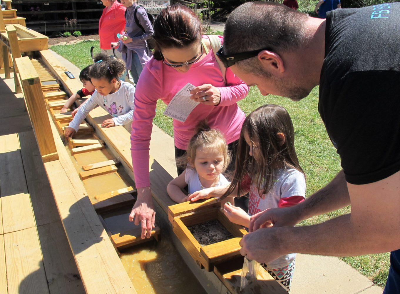Family gem mining at the Nature Center
